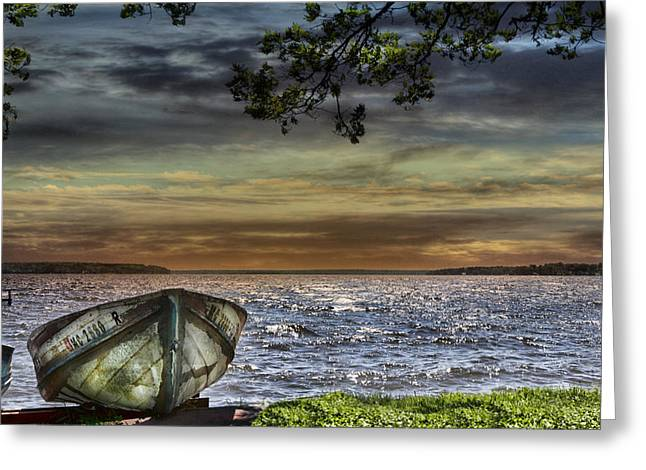 South Manistique Lake With Rowboat Greeting Card by Evie Carrier