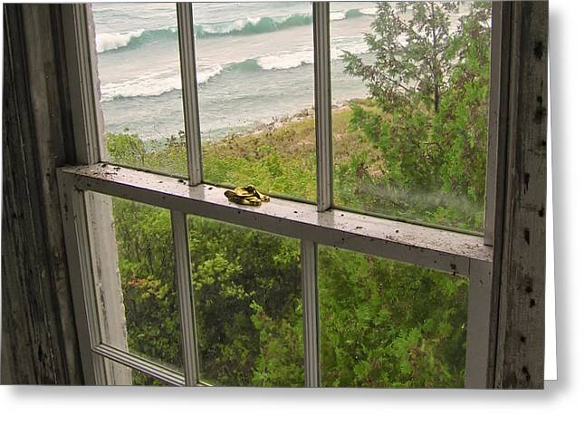 South Manitou Island Lighthouse Window Greeting Card