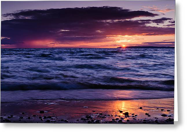 South Manitou Sunset Greeting Card by Thomas Pettengill