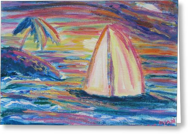 South Seas Sunset Greeting Card by Diane Pape