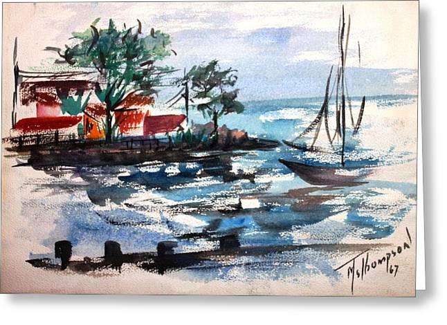 South Shore Dock 1967 Greeting Card by Mary Spyridon Thompson