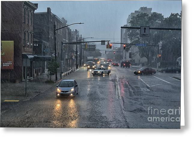 South Side In The Rain Greeting Card