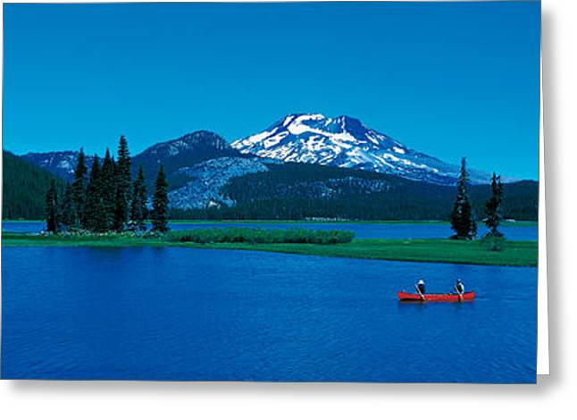 South Sister Canoeing Sparks Lake Or Usa Greeting Card by Panoramic Images
