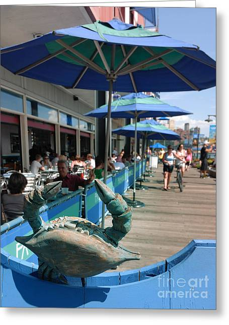 South Street Seaport New York Crab Greeting Card by Amy Cicconi
