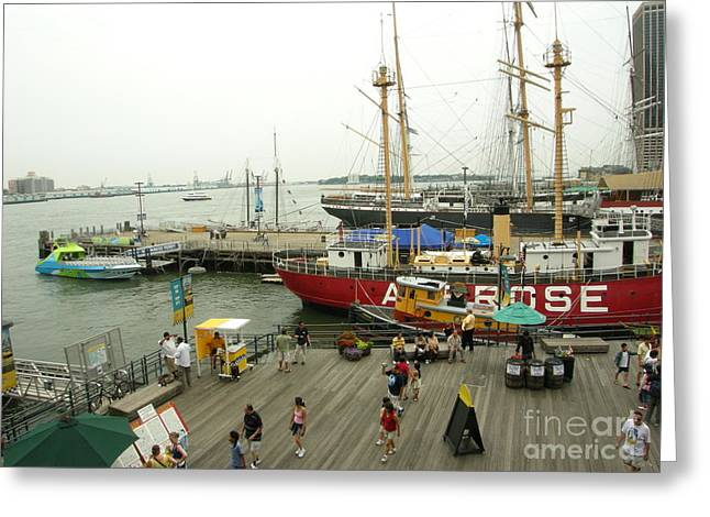 South Street Seaport  N Y C Greeting Card by Anthony Morretta