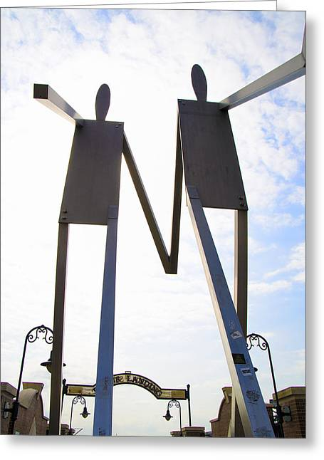 South Street Stick Men Statue Greeting Card by Bill Cannon