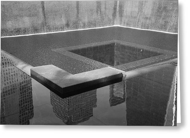 South Tower Pool In Black And White Greeting Card by Rob Hans