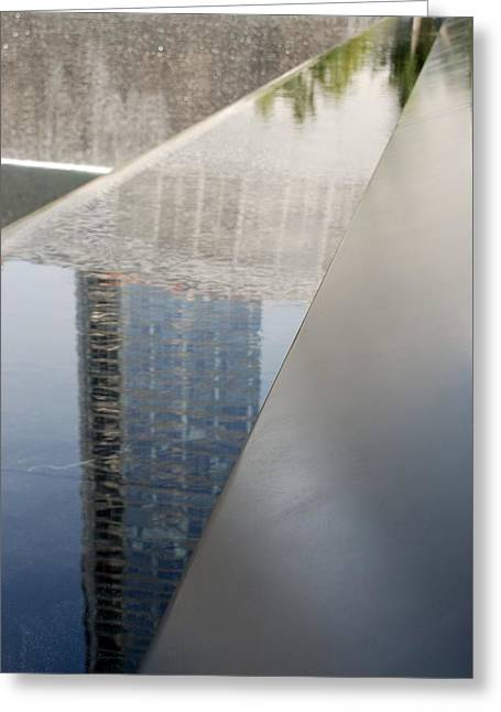 South Tower Reflections Greeting Card by Rob Hans