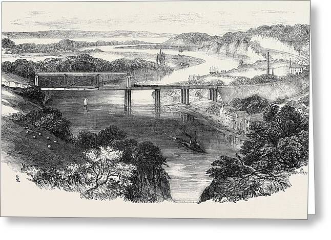 South Wales Railway, The Chepstow Tubular Suspension Bridge Greeting Card