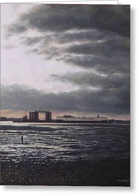 Southampton Docks From Weston Shore Winter Sunset Greeting Card