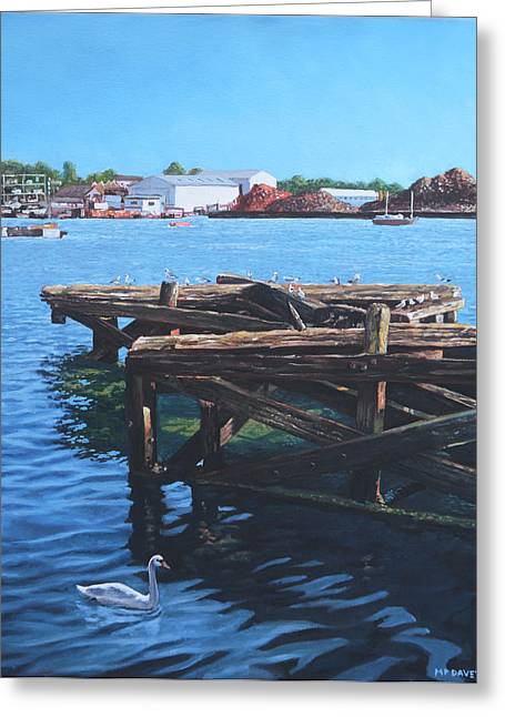 Southampton Northam River Itchen Old Jetty With Sea Birds Greeting Card by Martin Davey