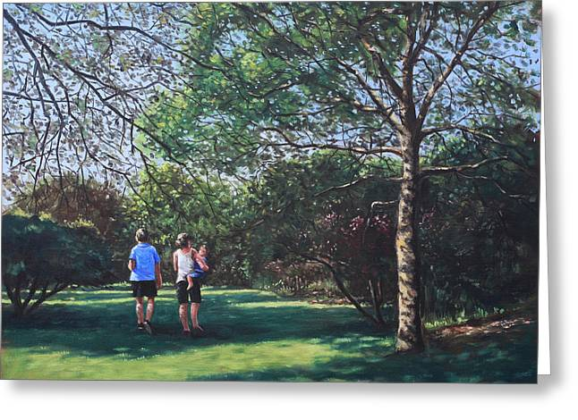 Southampton People In Park Greeting Card by Martin Davey