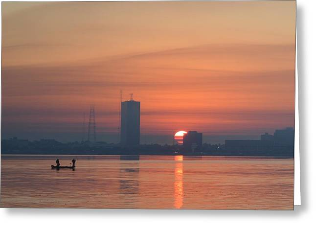 Southern City Sunrise Greeting Card by Eileen Corbel