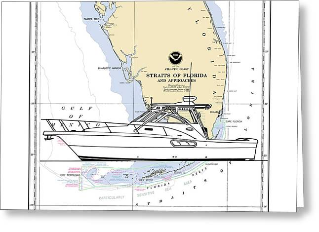Southern Florida Nautical Chart With Quick Yacht Greeting Card by Jack Pumphrey