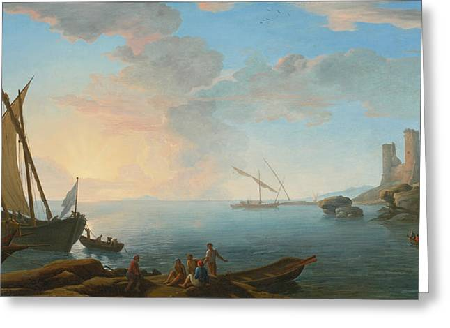 Southern Mediterranean Seascape With Boats And Figures At Sunset Greeting Card