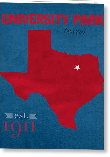 Southern Methodist University Mustangs Dallas Texas College Town State Map Poster Series No 098 Greeting Card