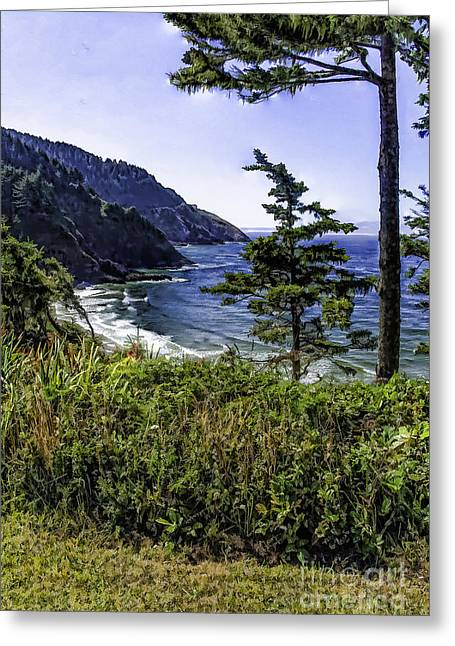 Southern Oregon Coastline Greeting Card by Nancy Marie Ricketts