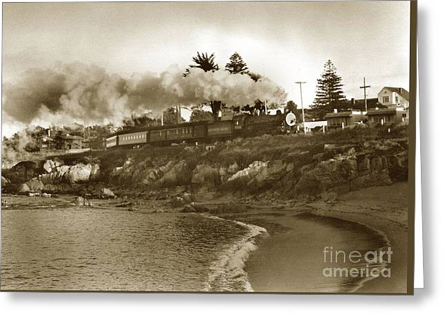 Southern Pacific Del Monte Passenger Train Pacific Grove Circa 1954 Greeting Card