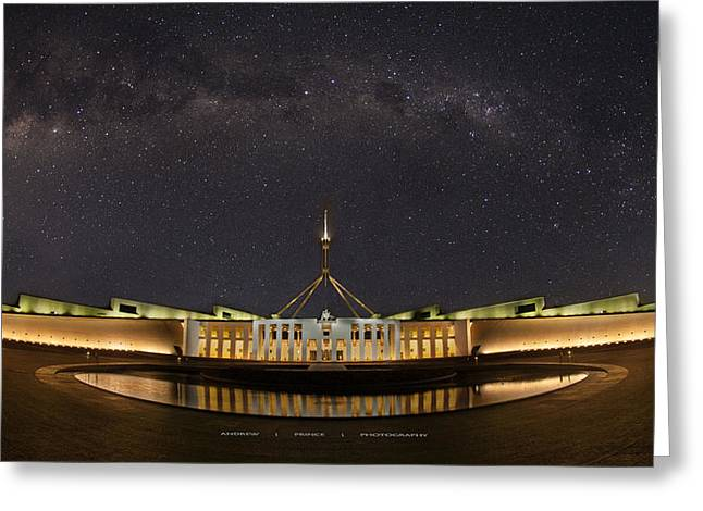 Southern Sky Parliament House  Greeting Card by Andrew Prince