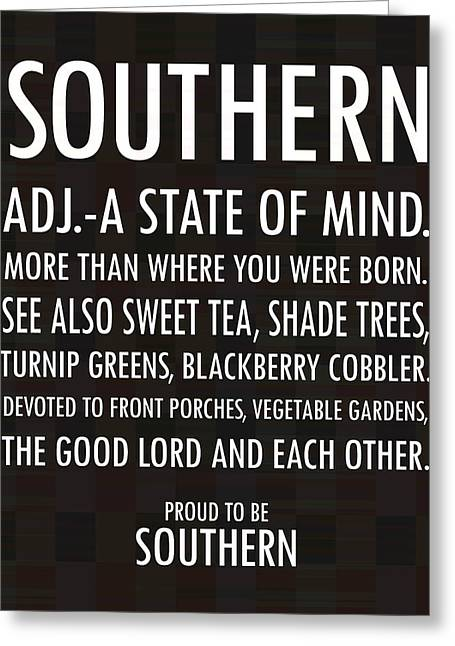 Southern State Of Mind Black And White Greeting Card