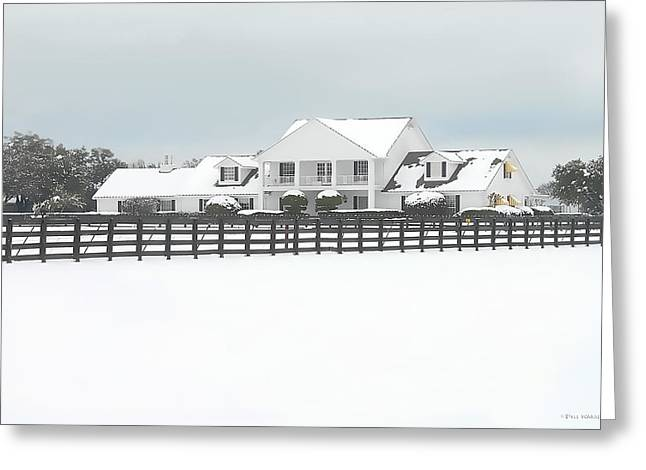 Greeting Card featuring the photograph Snow Covered Southfork Ranch   by Dyle   Warren