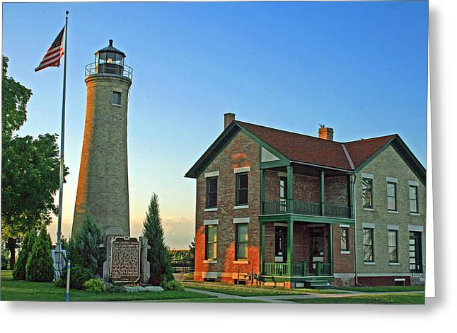 Greeting Card featuring the photograph Southport Lighthouse On Simmons Island by Kay Novy