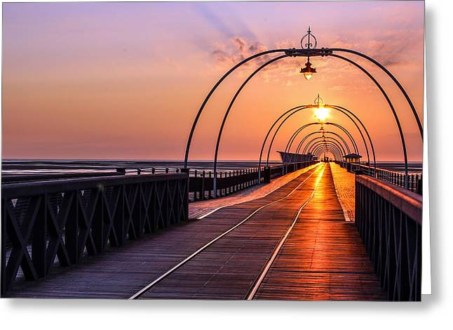 Southport Pier Greeting Card by Paul Madden