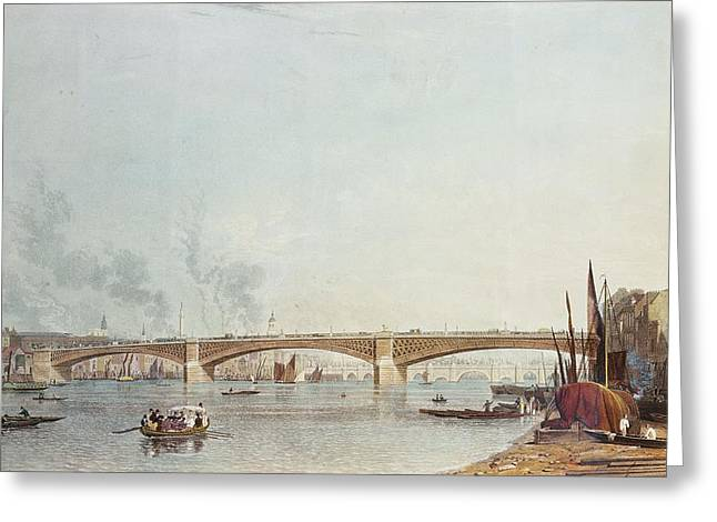 Southwark Bridge, West Front, From Bankside, Looking Towards London Bridge Colour Litho Greeting Card by English School
