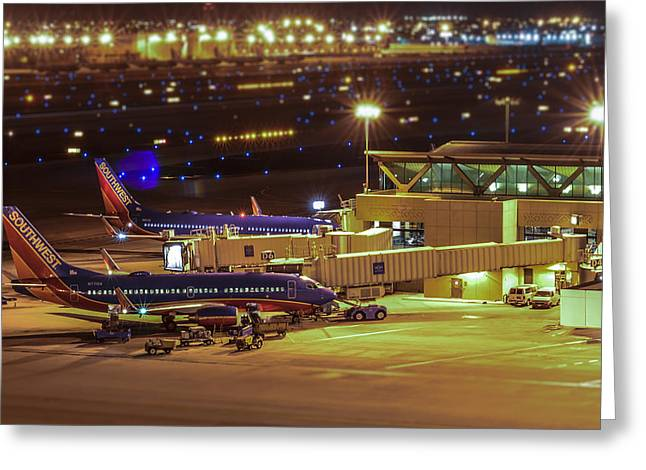 Southwest 737s In For The Night Greeting Card by Alan Marlowe