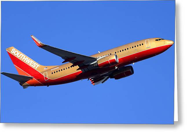 Southwest Boeing 737-7h4 N792sw Phoenix Sky Harbor December 22 2014  Greeting Card by Brian Lockett