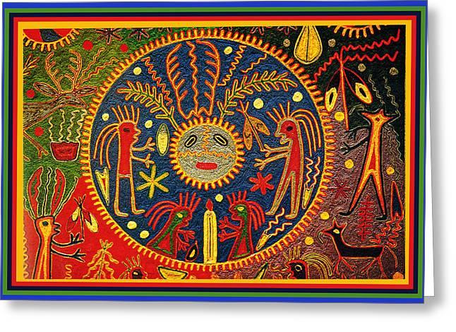 Greeting Card featuring the digital art Southwest Huichol Del Sol by Vagabond Folk Art - Virginia Vivier