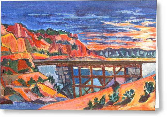 Southwest Sunset And Rail Trestle In A Nod To Thomas Kinkade Greeting Card by Betty Pieper