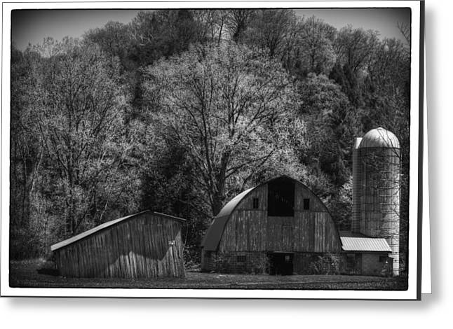 Southwest Wisconsin Barn Black And White Greeting Card