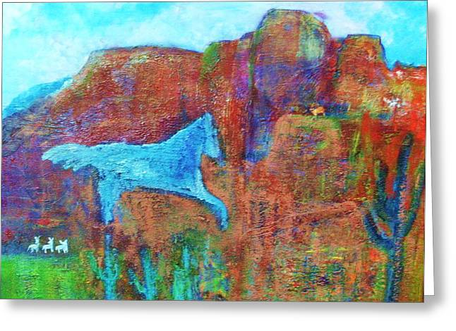 Southwestern Dreamscape  Greeting Card by Anne-Elizabeth Whiteway