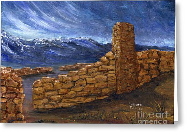 Southwestern Night Landscape Rock Ruins Greeting Card