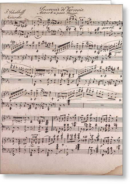 Souvenir De Varsovie, Mazurka Pour Piano By Schulhoff Greeting Card