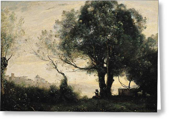 Souvenir Of Castel Gandolfo Oil On Canvas Greeting Card by Jean Baptiste Camille Corot