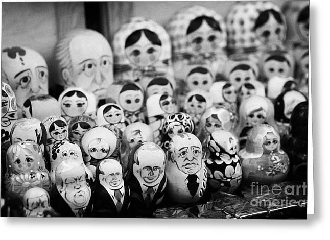 Soviet And Russian Matryoska Dolls On Sale On A Street Stall Greeting Card