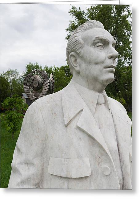Soviet-era Sculpture Of Alexei Kosygin Greeting Card by Panoramic Images