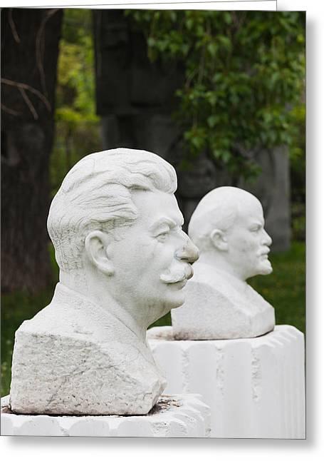 Soviet-era Sculptures Of Vladimir Lenin Greeting Card by Panoramic Images