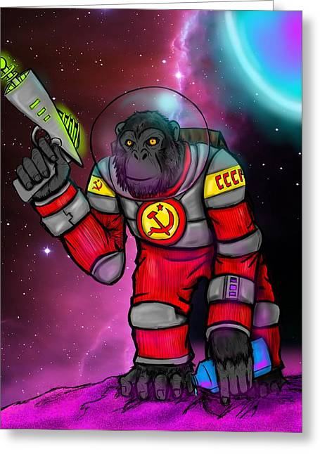 Soviet Space Chimp Greeting Card by Oliver Matuskey