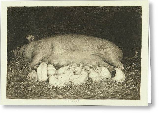 Sow With Piglets Lying In Stable, Carel Lodewijk Dake Greeting Card by Quint Lox