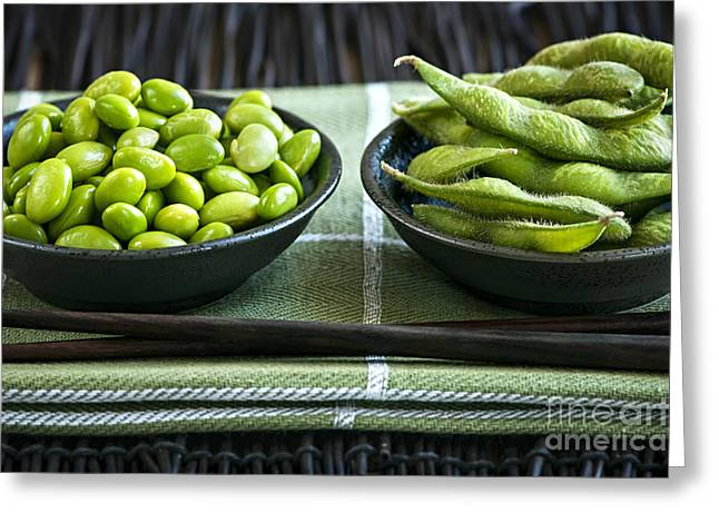 Soy Beans In Bowls Greeting Card by Elena Elisseeva