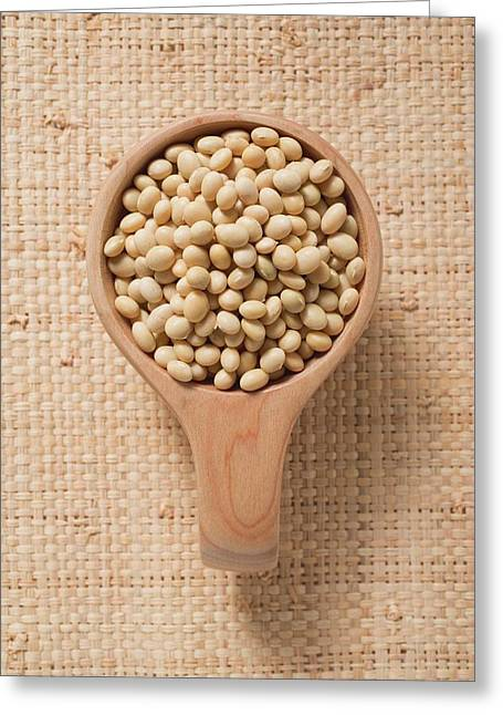 Soya Beans In A Small Wooden Bowl Greeting Card