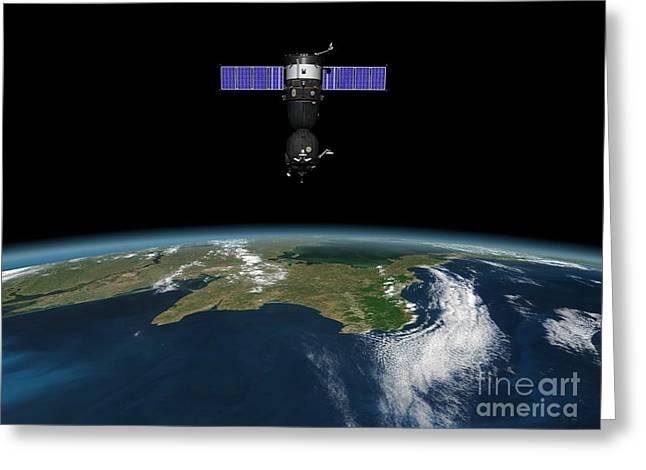 Soyuz Spacecraft In Earth Orbit, Artwork Greeting Card by Walter Myers