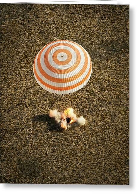 Soyuz Spacecraft Landing Greeting Card by Nasa