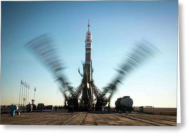 Soyuz Tma-11m Launch Pad Greeting Card by Nasa/bill Ingalls