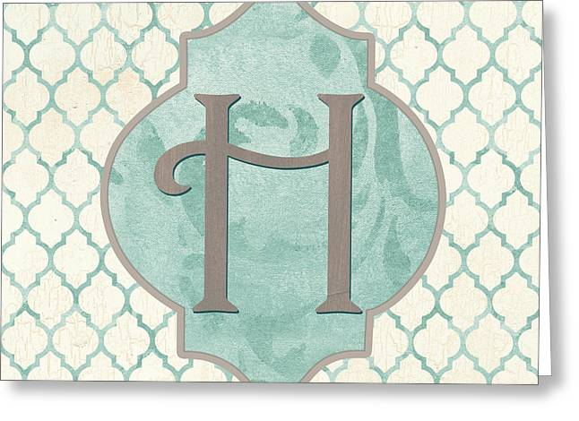 Spa Monogram Greeting Card by Debbie DeWitt
