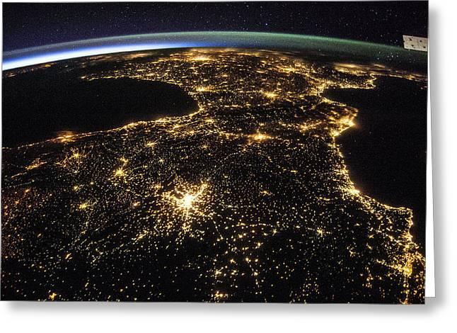 Space And France At Night Greeting Card by Nasa