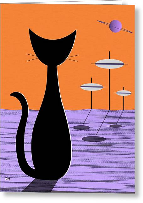 Greeting Card featuring the digital art Space Cat Orange Sky by Donna Mibus